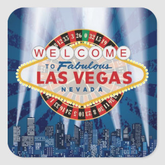 Las Vegas Cityscape Welcome Sign Custom Stickers