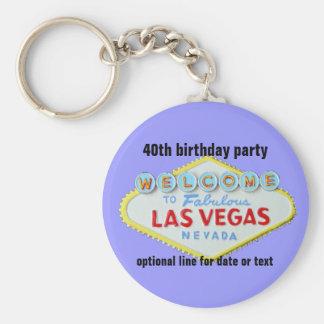 Las Vegas Custom Birthday Party 40th Basic Round Button Keychain