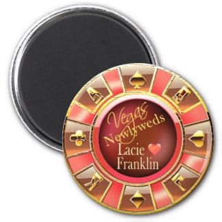 Las Vegas Deluxe Coral Peach Casino Chip Favor Magnet
