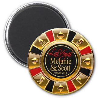 Las Vegas Deluxe Gold Black Red Casino Chip Favor Magnet