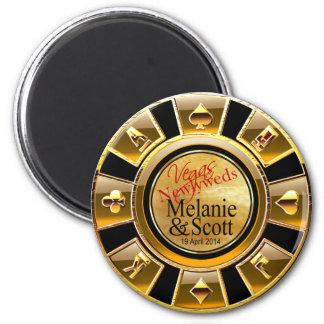Las Vegas Deluxe Gold Black Sand Casino Chip Favor Magnet