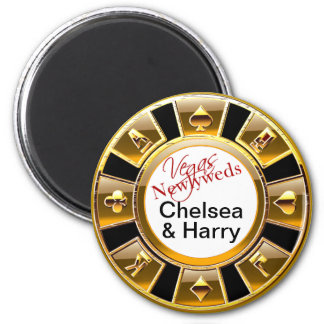 Las Vegas Deluxe Gold Casino Chip Magnet Favor