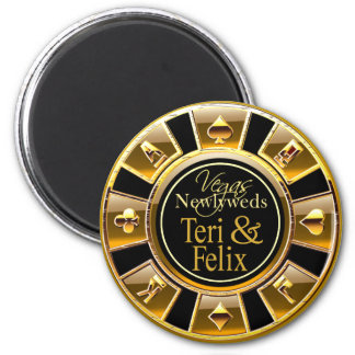 Las Vegas Deluxe Gold Casino Chip Magnet Favor