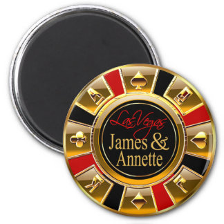 Las Vegas Deluxe Gold & Red Casino Chip Favor 2 Inch Round Magnet