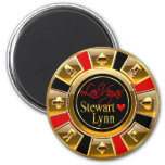 Las Vegas Deluxe Gold & Red Casino Chip Favor Fridge Magnets