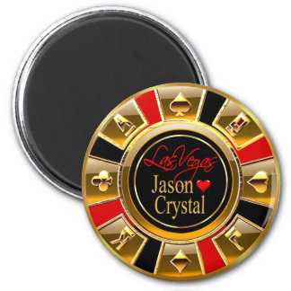 Las Vegas Deluxe Gold & Red Casino Chip Favor Magnet