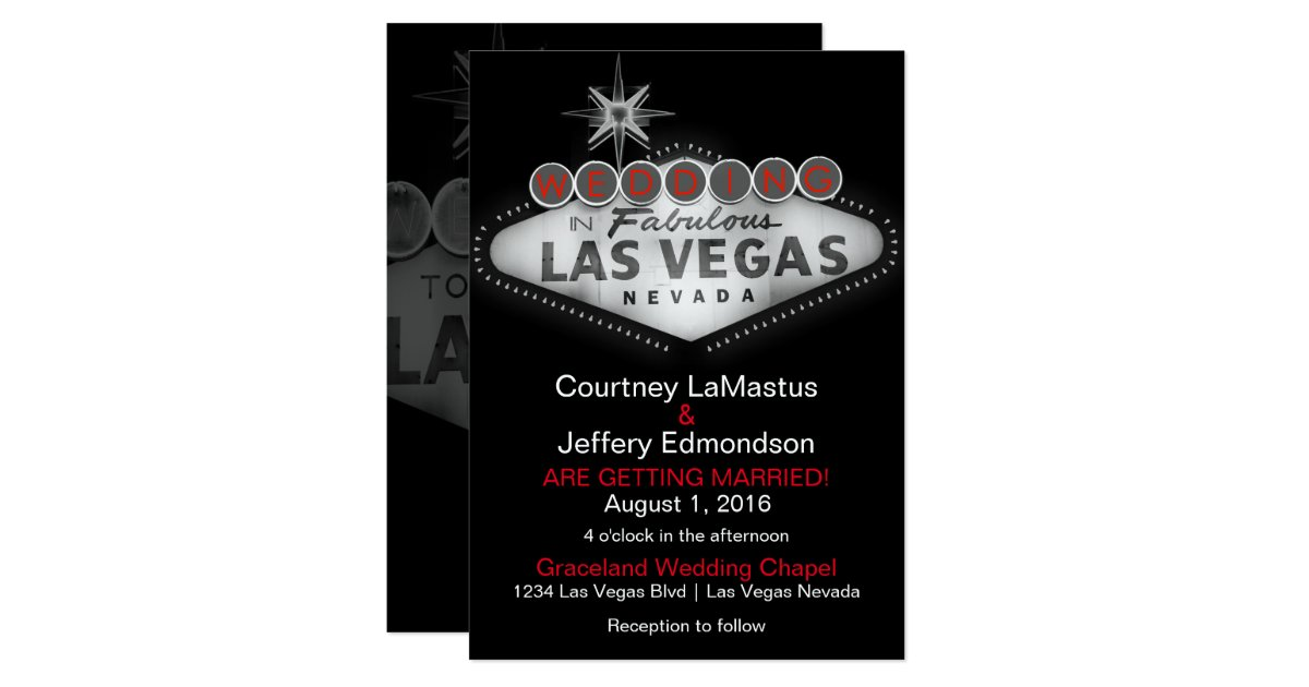 Las Vegas Destination Wedding Gift Bags : Las Vegas Destination Wedding Invitation Zazzle