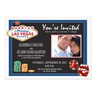 Las Vegas Destination Wedding Invitation blue