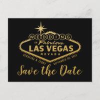 Las Vegas Destination Wedding Save the Date Announcement Postcard