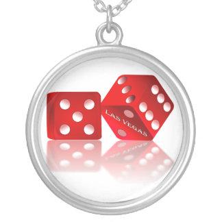 Las Vegas Dice Round Pendant Necklace