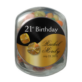 Las Vegas Dice Swoop 21st Birthday gold black Glass Jars