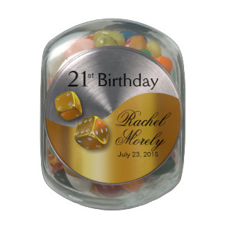 Las Vegas Dice Swoop 21st Birthday gold white Glass Candy Jar