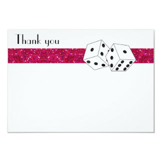 Las Vegas Dice Theme Flat Thank You Pink Personalized Announcement