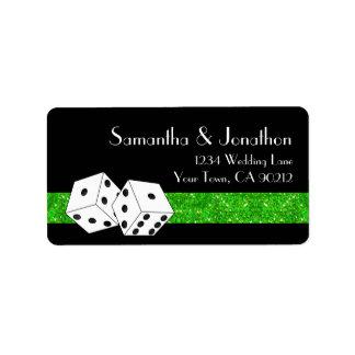 Las Vegas Dice Theme Green & Black Faux Glitter Label
