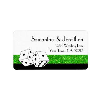 Las Vegas Dice Theme Green & Black Faux Glitter Custom Address Label