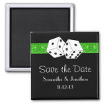 Las Vegas Dice Theme Green & Black Save the Date 2 Inch Square Magnet