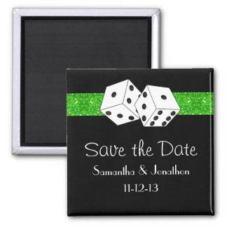 Las Vegas Dice Theme Green & Black Save the Date Magnet