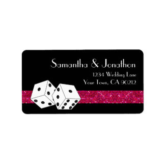 Las Vegas Dice Theme Hot Pink & Black Faux Glitter Label