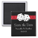 Las Vegas Dice Theme Hot Red Black Save the Date 2 Inch Square Magnet