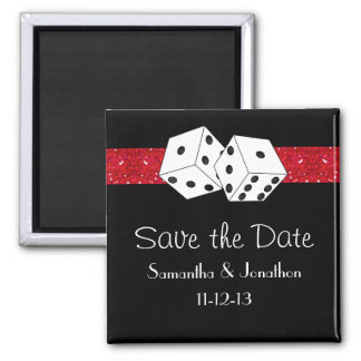 Las Vegas Dice Theme Hot Red Black Save the Date Magnet