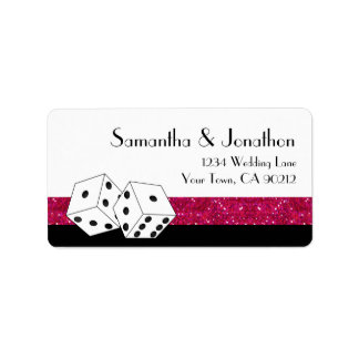 Las Vegas Dice Theme Hot White Pink Glitter Look Label