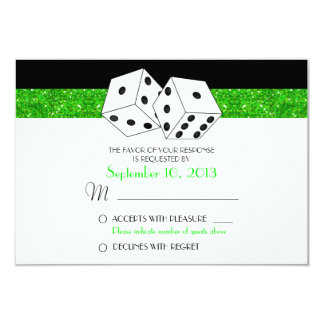 Las Vegas Dice Theme RSVP Green Faux Glitter Card