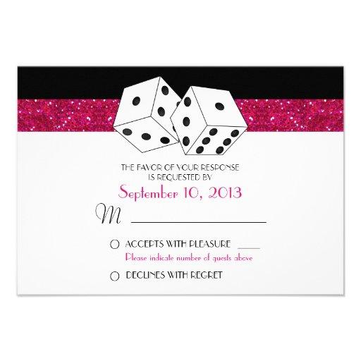 Las Vegas Dice Theme RSVP Hot Pink Faux Glitter Custom Invite