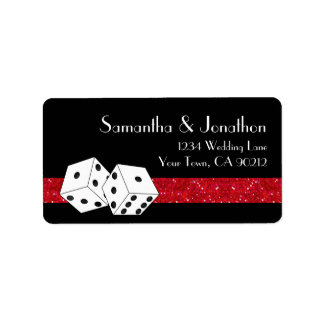 Las Vegas Dice Theme Ruby Red & Black Faux Glitter Label