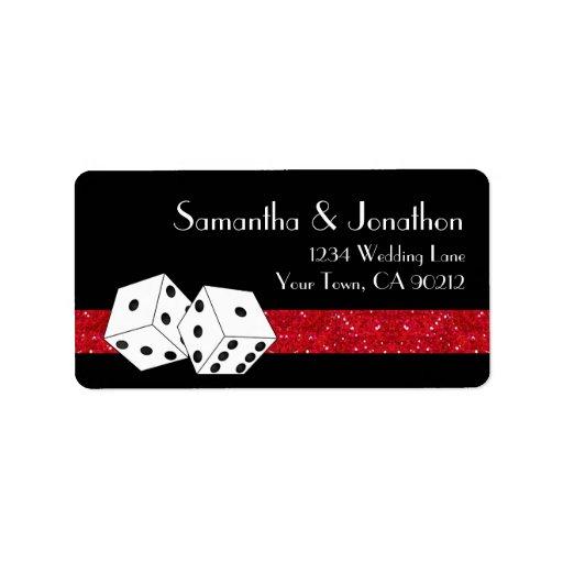 Las Vegas Dice Theme Ruby Red & Black Faux Glitter Address Label