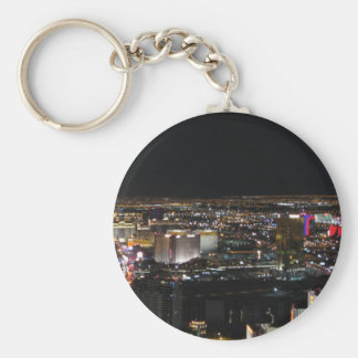 Las Vegas en la noche Llavero Redondo Tipo Pin