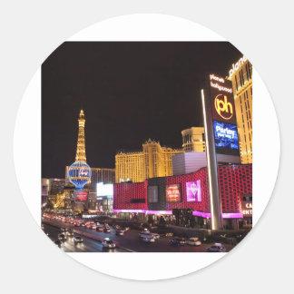 Las Vegas en la noche Etiquetas Redondas
