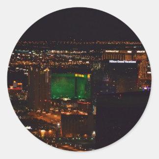 Las Vegas en la noche Pegatina Redonda