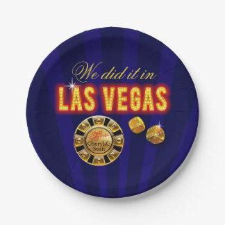 Las Vegas enciende el zafiro de Sr. y de señora Plato De Papel De 7 Pulgadas