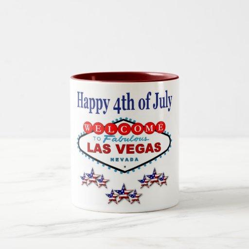Las Vegas feliz el 4 de julio dos entona la taza