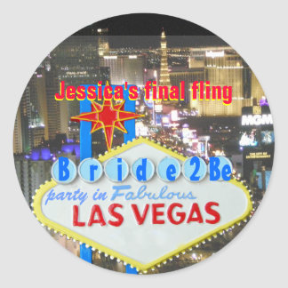 Las Vegas Final Fling Bride to Be Classic Round Sticker