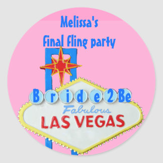 Las Vegas Final Fling for bride to Be Classic Round Sticker