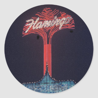 Las Vegas Flamingo Hotel Round Sticker