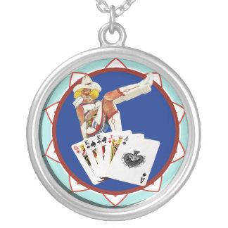 Las Vegas Gal Poker Chip Round Pendant Necklace