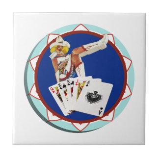 Las Vegas Gal Poker Chip Tile