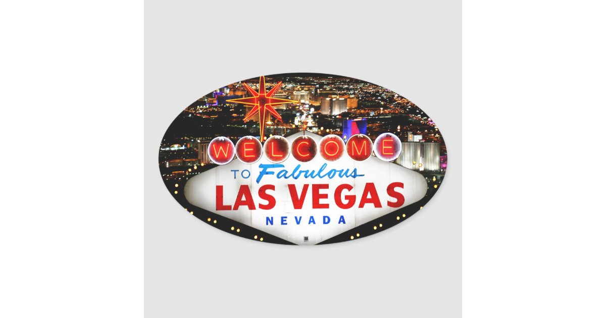 Las vegas gifts oval sticker zazzle for Arts and crafts stores in las vegas