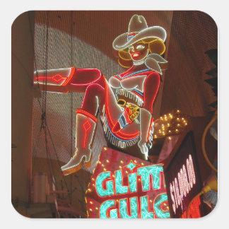 Las Vegas Glitter Gulch Square Sticker