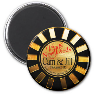 Las Vegas Gold Black Retro Casino Chip Favor Magnet