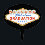 "Las Vegas Graduation Party Cake Topper<br><div class=""desc"">This Las Vegas Graduation Party Sign design features the words &quot;Welcome to a Fabulous Graduation Party&quot; on a classic red and blue Las Vegas style sign.