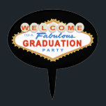 """Las Vegas Graduation Party Cake Topper<br><div class=""""desc"""">This Las Vegas Graduation Party Sign design features the words &quot;Welcome to a Fabulous Graduation Party&quot; on a classic red and blue Las Vegas style sign.   Matching Products</div>"""