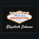 """Las Vegas Graduation Party Sign<br><div class=""""desc"""">This Las Vegas Graduation Party Sign design features the words &quot;Welcome to a Fabulous Graduation Party&quot; on a classic red and blue Las Vegas style sign.   Matching Products</div>"""