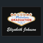"Las Vegas Graduation Party Sign<br><div class=""desc"">This Las Vegas Graduation Party Sign design features the words &quot;Welcome to a Fabulous Graduation Party&quot; on a classic red and blue Las Vegas style sign.