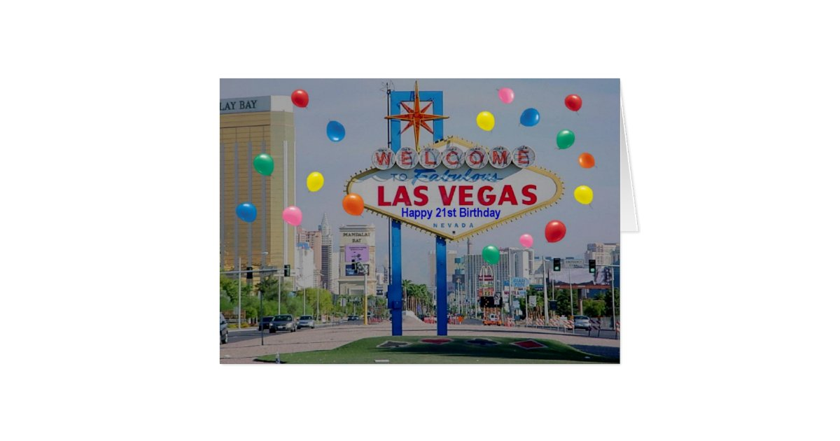 Las vegas happy 21st birthday card in blue for Arts and crafts stores in las vegas