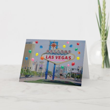 Las Vegas Happy 21st Birthday Card In Pink