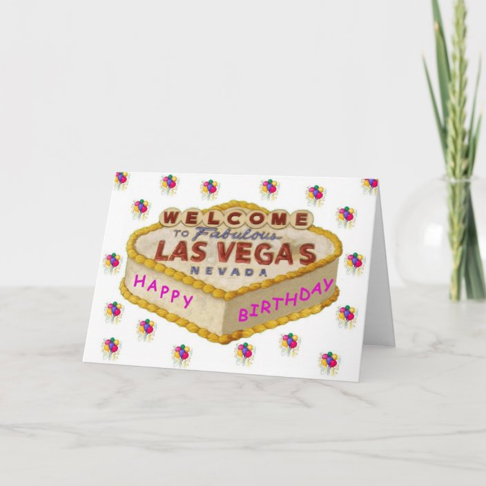 Prime Las Vegas Happy Birthday Cake Pink Card Zazzle Com Funny Birthday Cards Online Fluifree Goldxyz