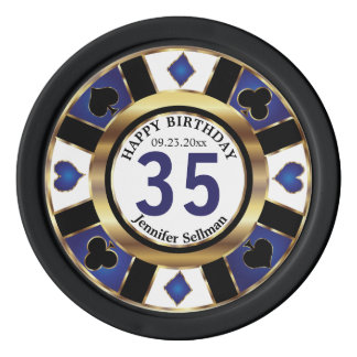 Las Vegas Happy Birthday in  Dark Blue Poker Chips